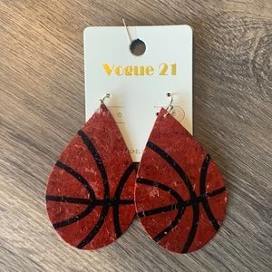 NWT Basketball Teardrop Earrings